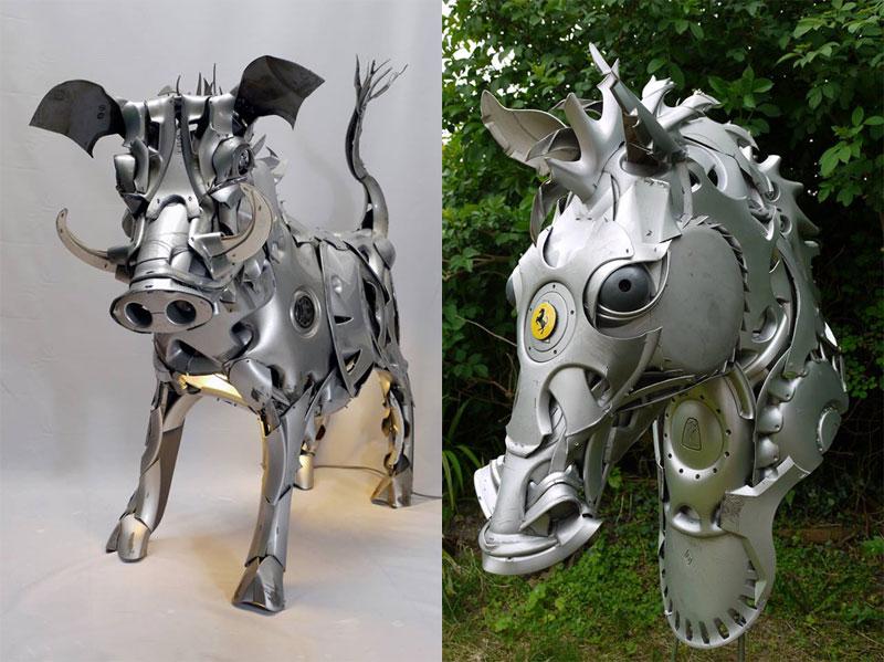 Хендмэйд из колпаков в скульптуры животных. Фото № 17