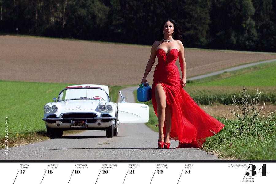 Календарь с девушками в стиле пин-ап и американскими автомобилями. Фото
