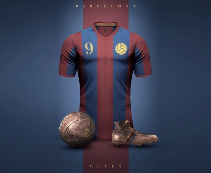 Ретро дизайн винтажной футбольной формы Барселоны и других клубов