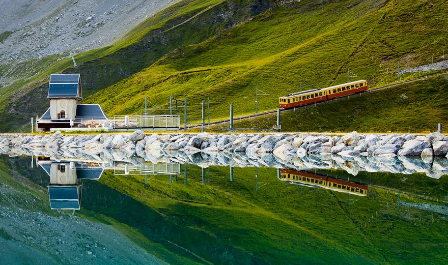 Железная дорога в горах. Швейцарское высокогорье. Фото № 5