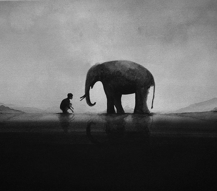 Черно-белые акварельные рисунки. Фото № 10