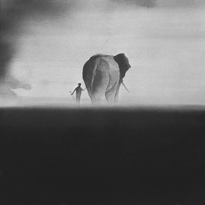Черно-белые акварельные рисунки. Фото № 11