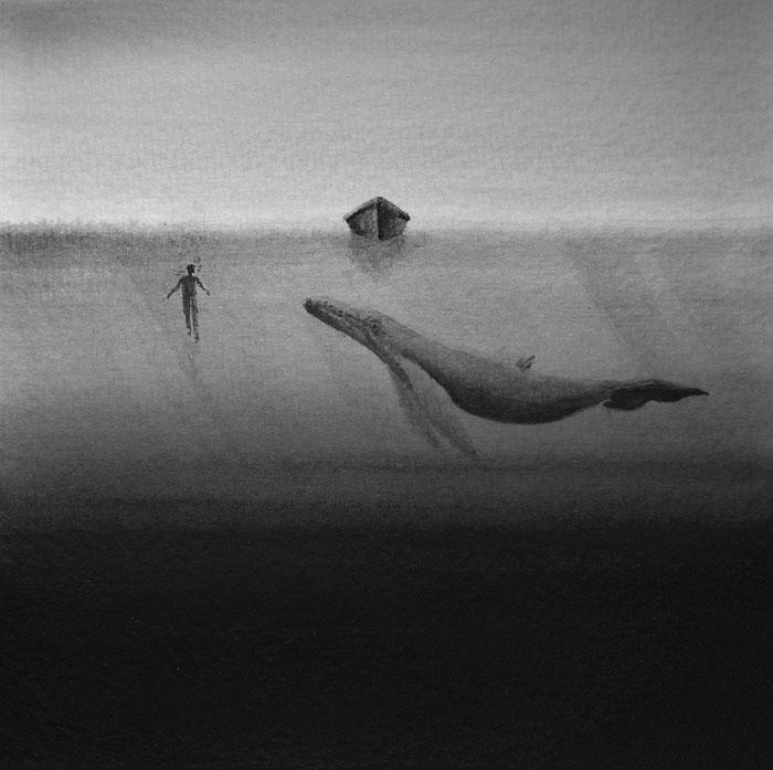 Черно-белые акварельные рисунки. Фото № 2