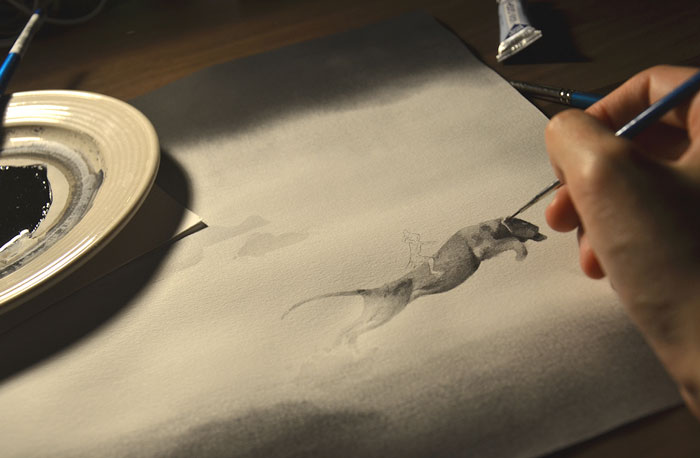Черно-белые акварельные рисунки. Фото № 5
