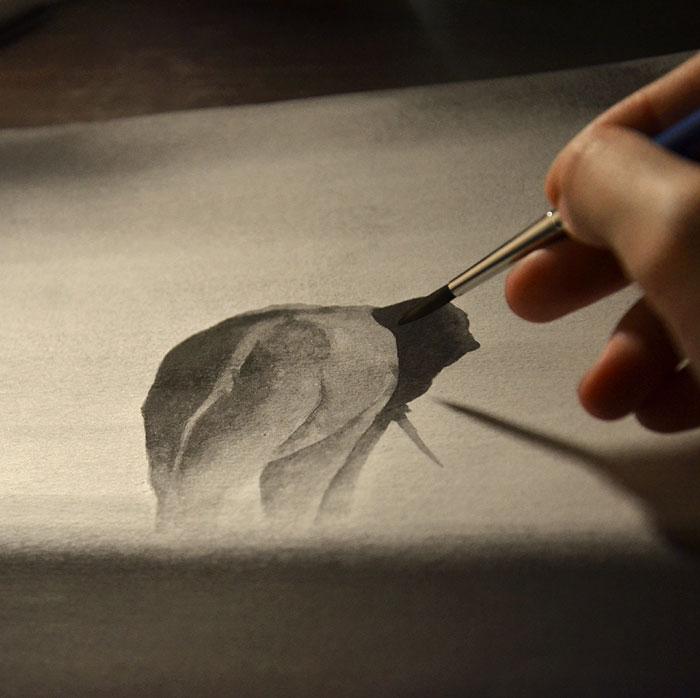 Черно-белые акварельные рисунки. Фото № 6