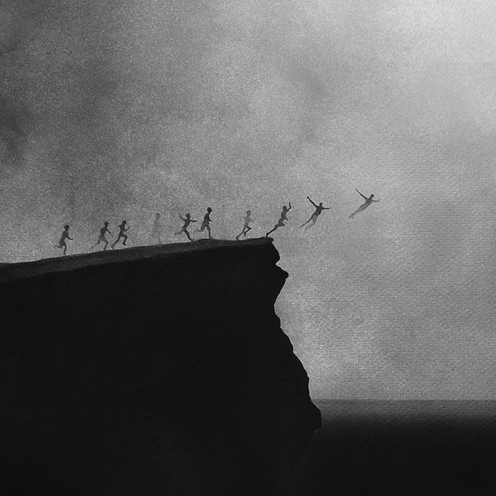 Черно-белые акварельные рисунки. Фото № 7