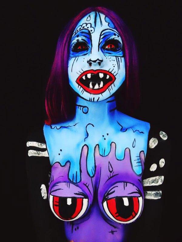 бодиарт, рисунки на теле, фото, хэллоуин-9