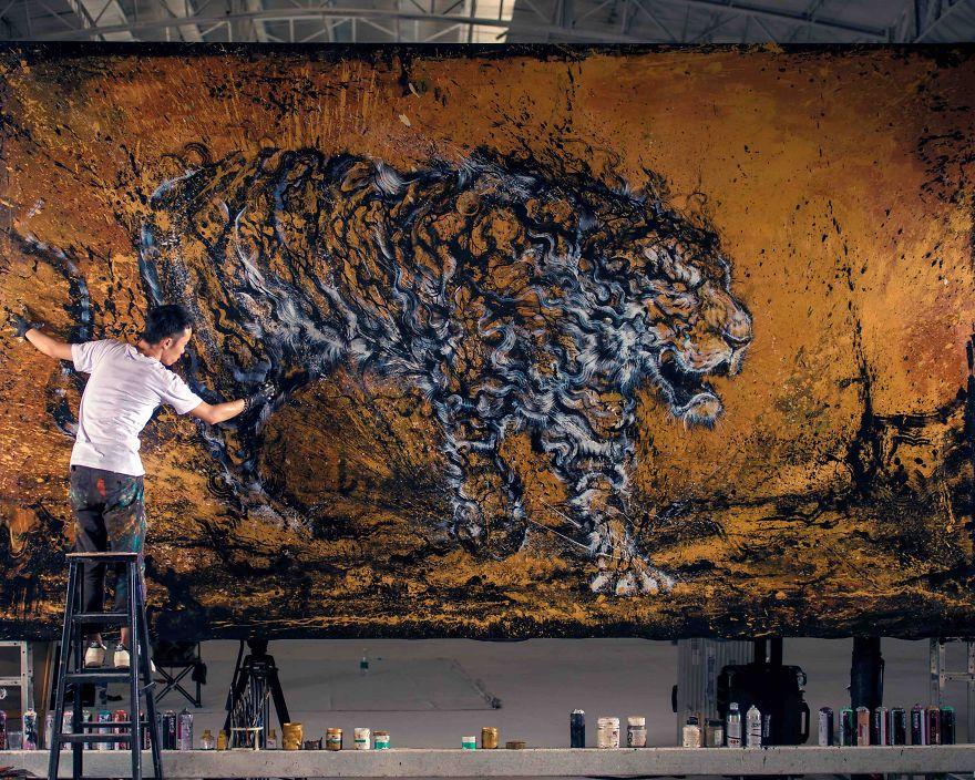 картина тигра, художник, полотно, творчество-1