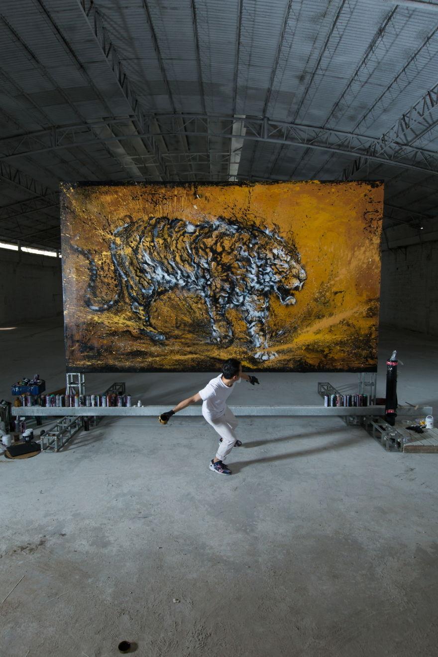 картина тигра, художник, полотно, творчество-10