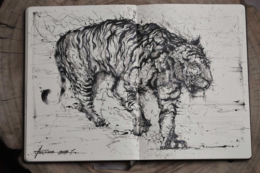 картина тигра, художник, полотно, творчество-4