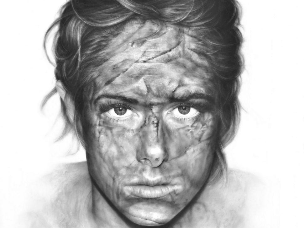 рисунки графитом на холсте, удивительная техника_10