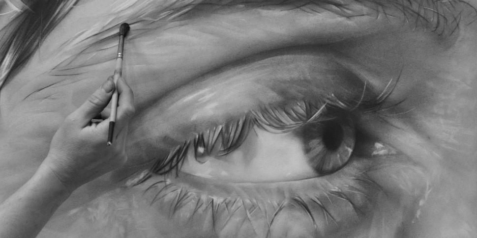 рисунки графитом на холсте, удивительная техника_3