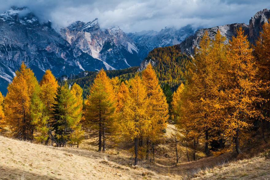 горы Доломиты в Италии, фотография, пейзаж, осень-12