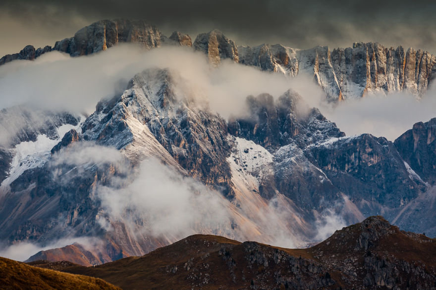 горы Доломиты в Италии, фотография, пейзаж, осень-4