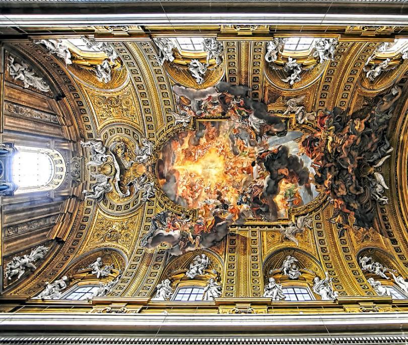 Красота потолков церквей Рима. Фото № 1