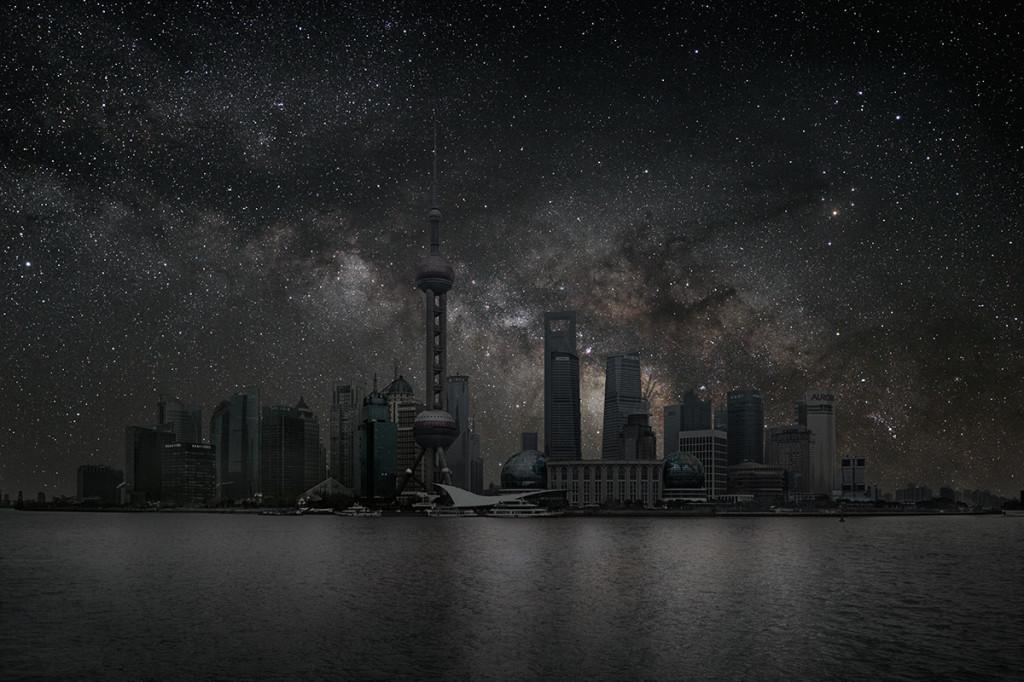 фото ночного города, звезды над городом, звездное небо-1