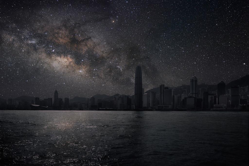 фото ночного города, звезды над городом, звездное небо-10