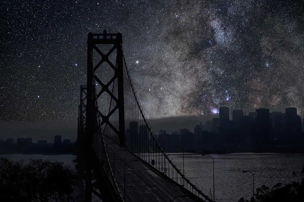 фото ночного города, звезды над городом, звездное небо-2