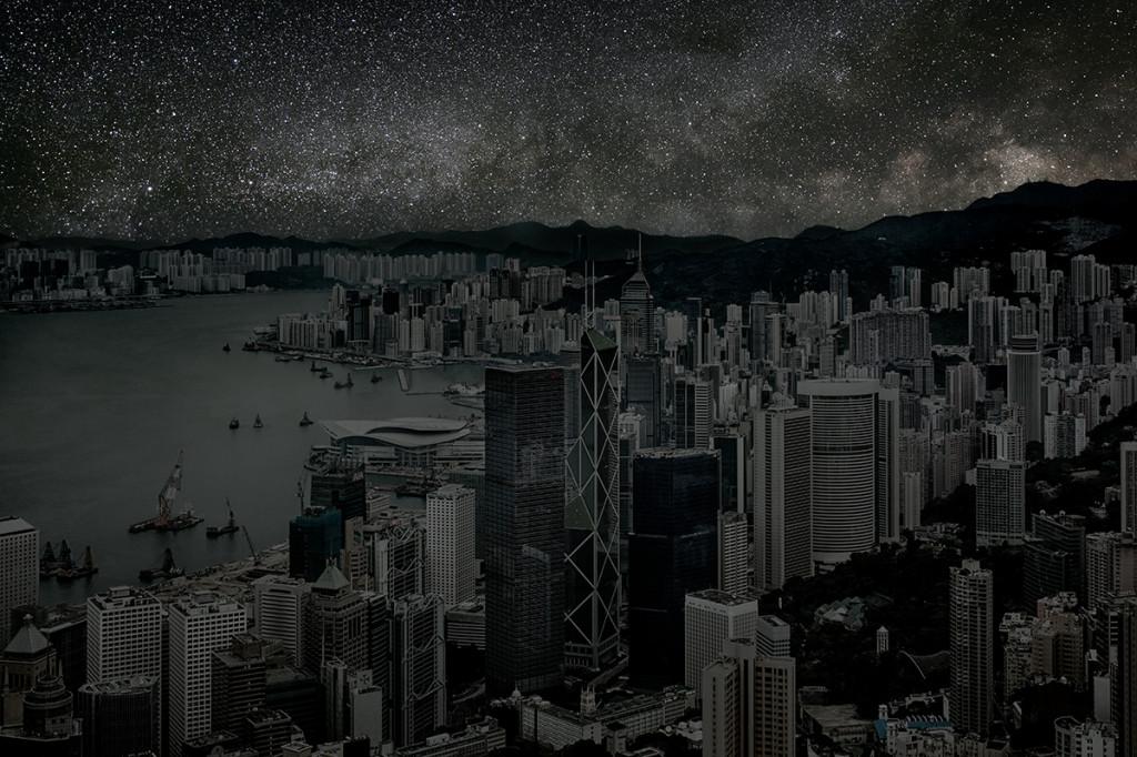 фото ночного города, звезды над городом, звездное небо-3