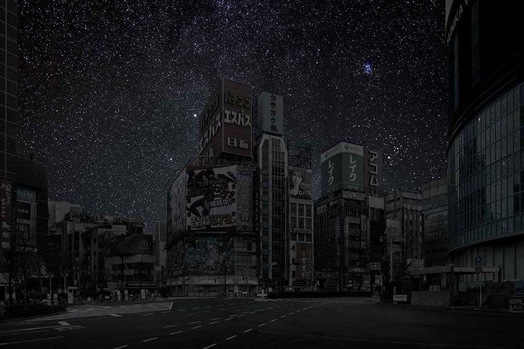 фото ночного города, звезды над городом, звездное небо-5