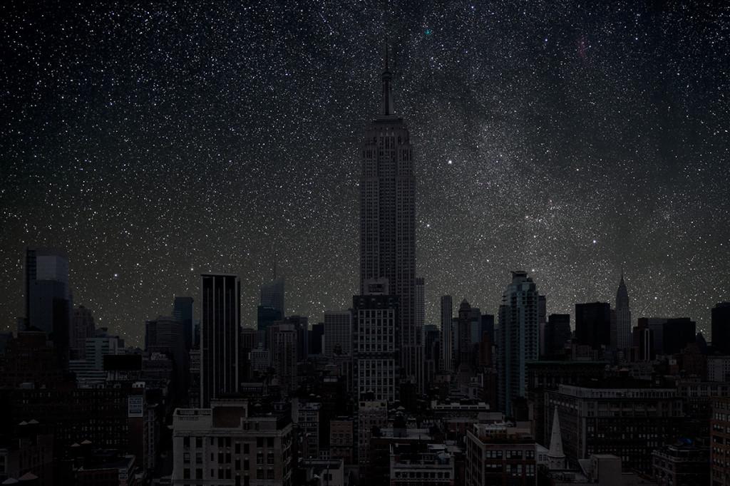 фото ночного города, звезды над городом, звездное небо-6