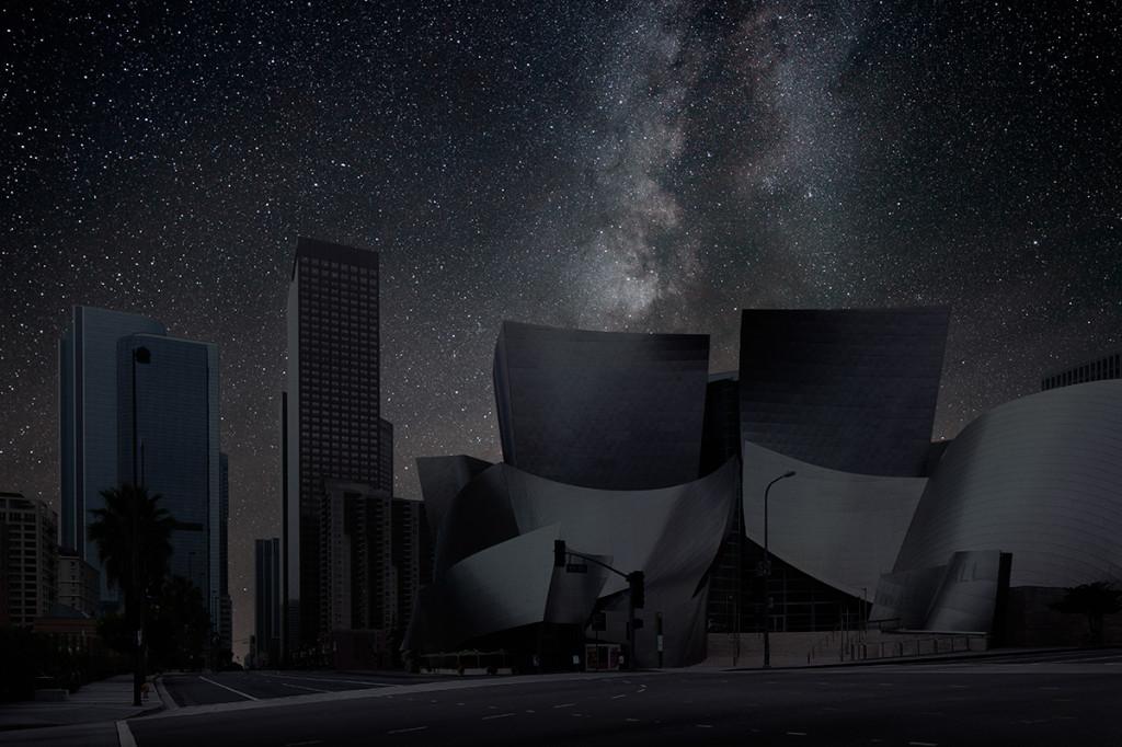 фото ночного города, звезды над городом, звездное небо-7