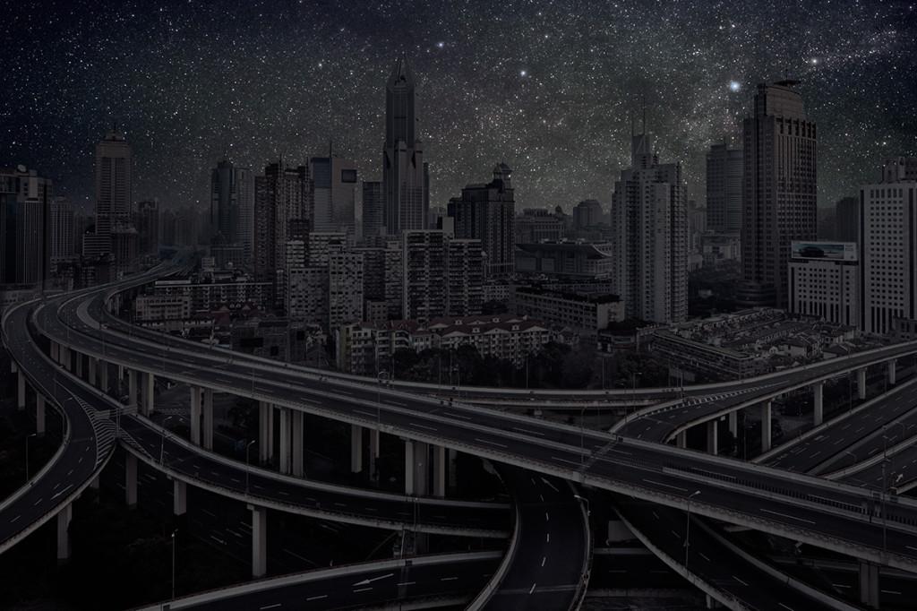 фото ночного города, звезды над городом, звездное небо-8