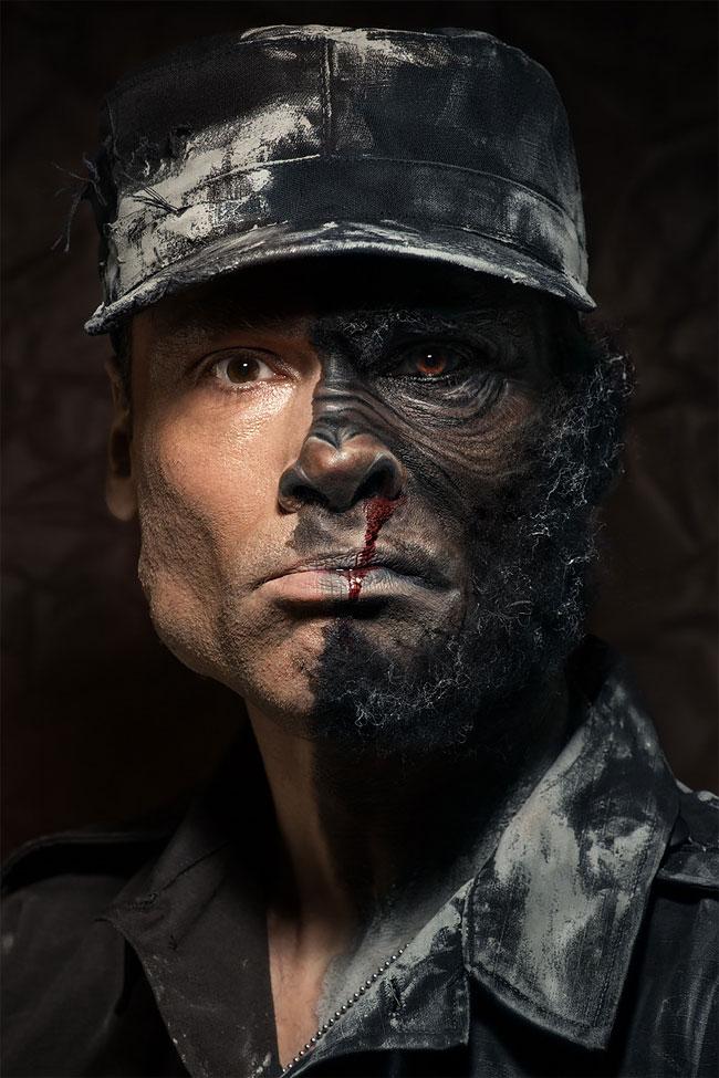 анимализм, портрет лица человека, бодиарт на лице, фото № 1