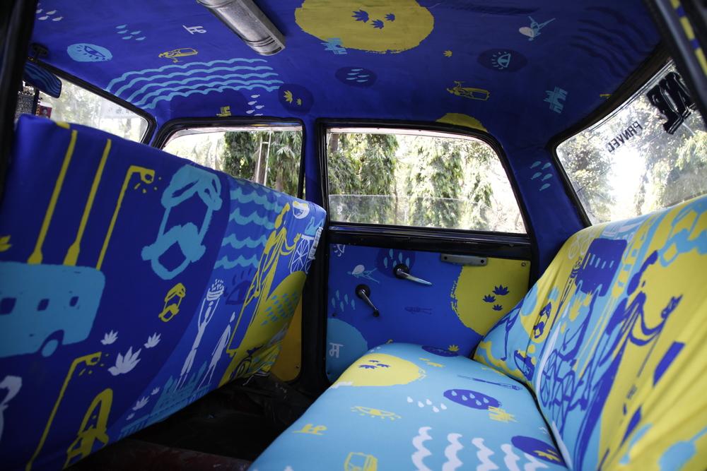 транспорт Индии, такси Индии, тюнинг такси, окраска салона автомобиля, дизайн салона автомобиля-11