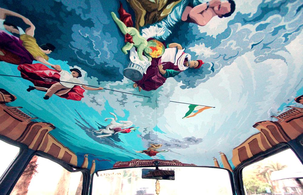 транспорт Индии, такси Индии, тюнинг такси, окраска салона автомобиля, дизайн салона автомобиля-4