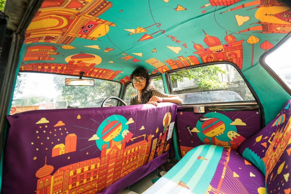 транспорт Индии, такси Индии, тюнинг такси, окраска салона автомобиля, дизайн салона автомобиля-6