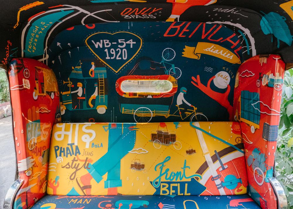 транспорт Индии, такси Индии, тюнинг такси, окраска салона автомобиля, дизайн салона автомобиля-8