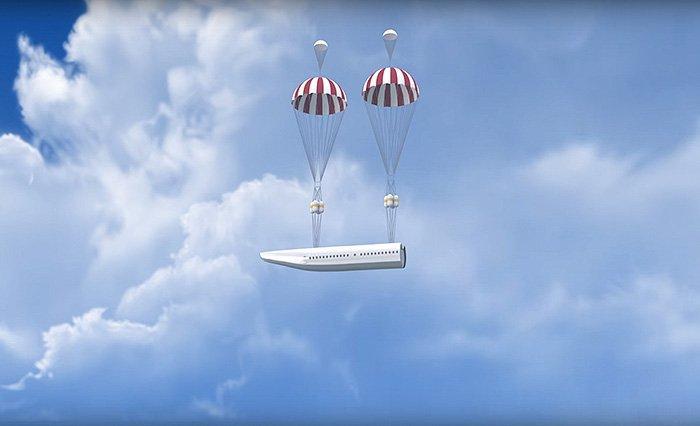 В последствии отсоединения, 2 пороховых мотора сдерживаются и раскрываются парашюты.