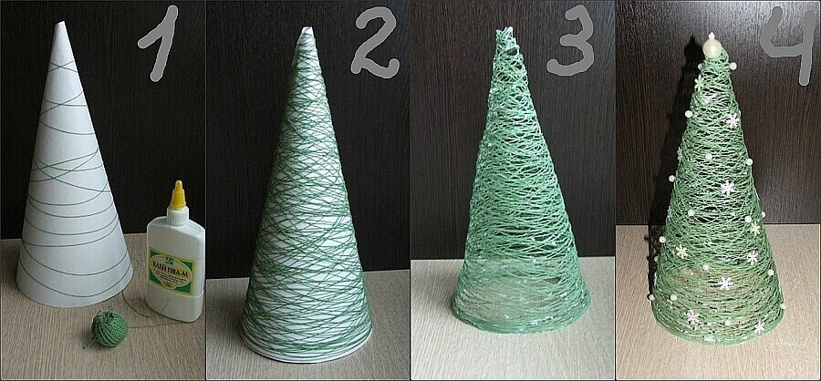 елка из ниток
