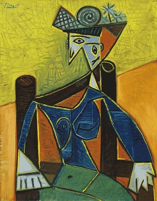 картина пикассо -Женщина, сидящая в кресле
