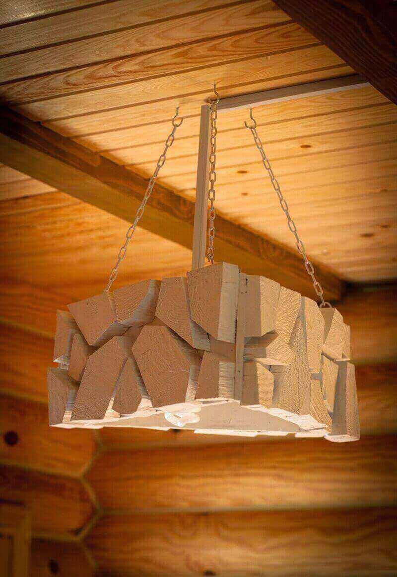 деревянный светильник