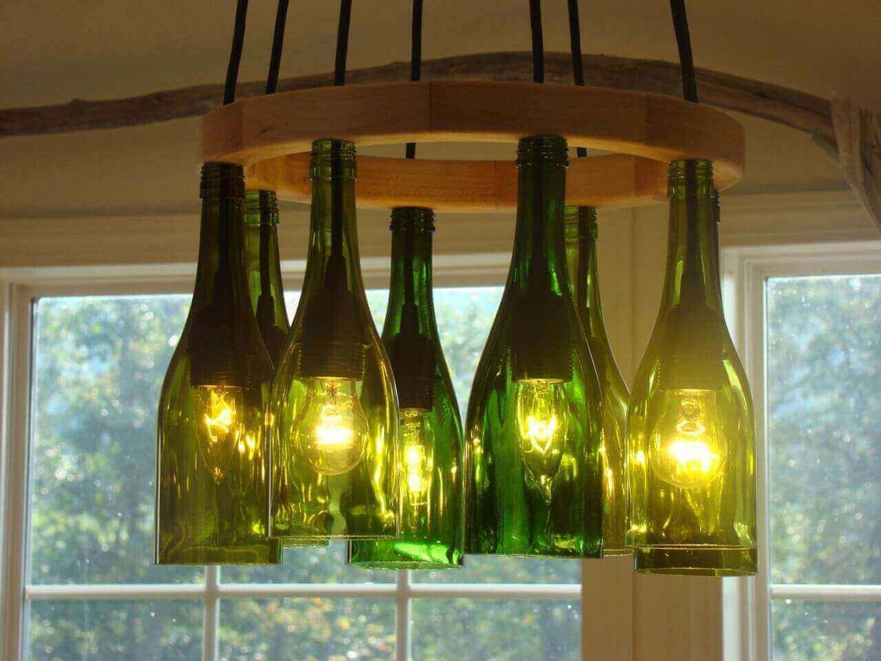 деревянный светильник своими руками с бутылками