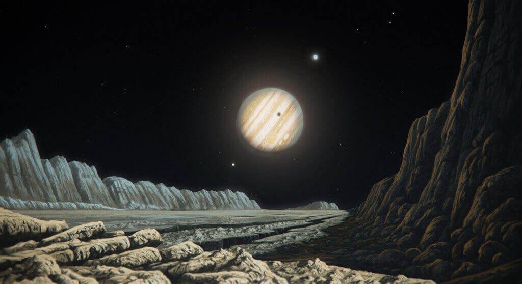 Вид Юпитера с Ганимеда