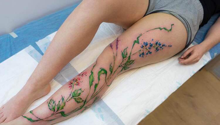 Акварельные татуировки на теле человека - живые рисунки