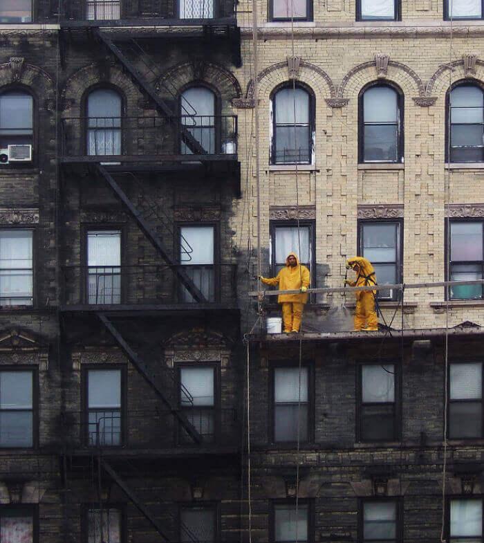 Чудеса мойки зданий в Нью-Йорке