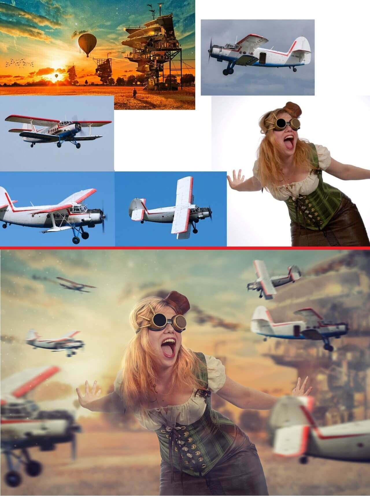 радостная девушка в очках пилота