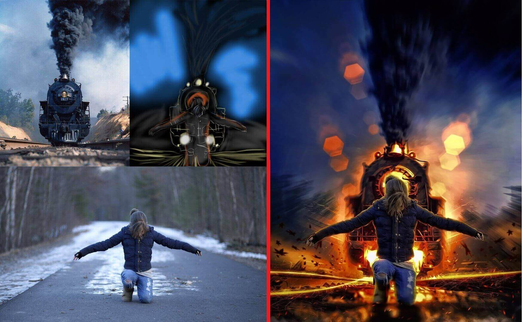 поезд и девушка