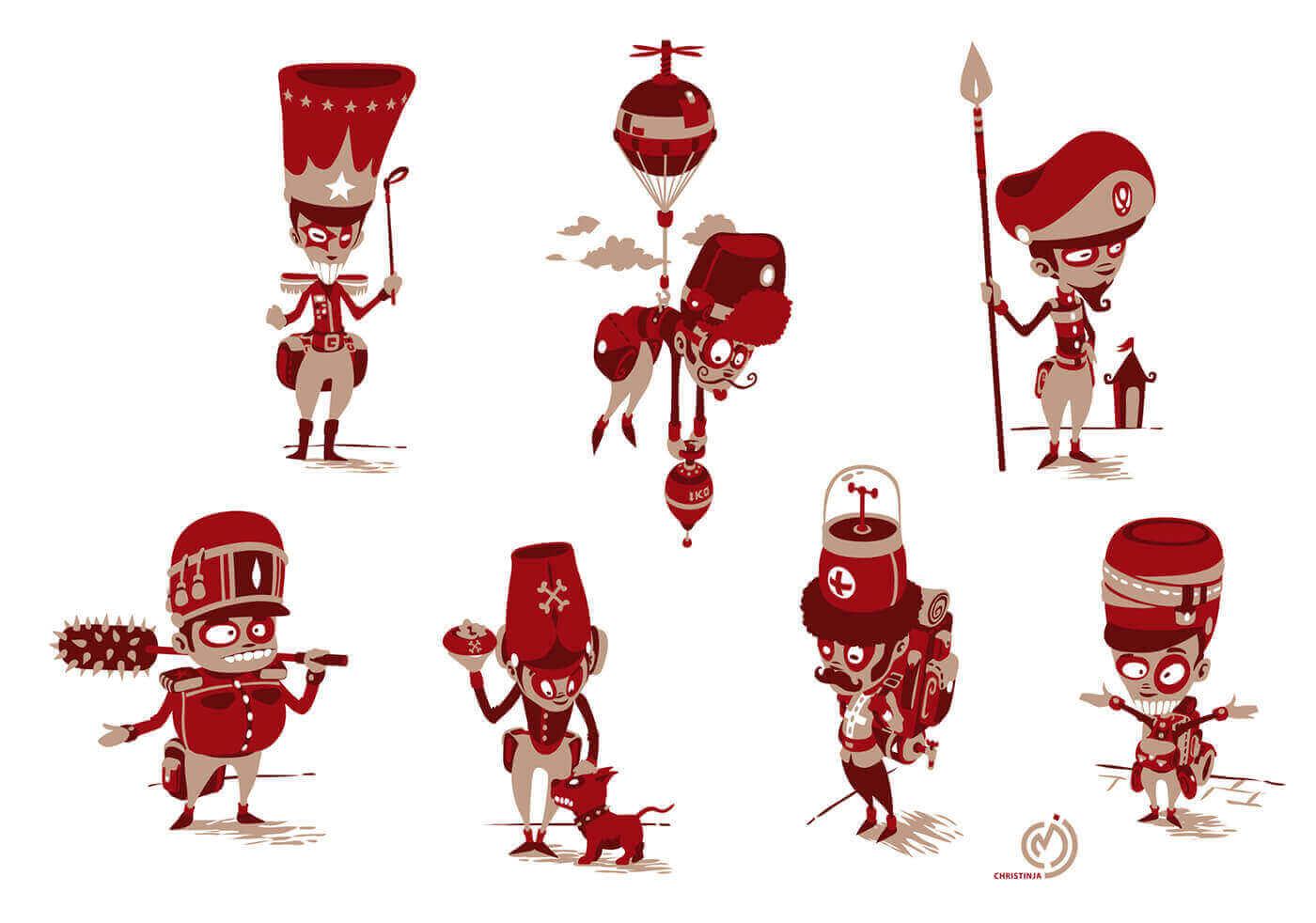 коллекция красных солдатиков