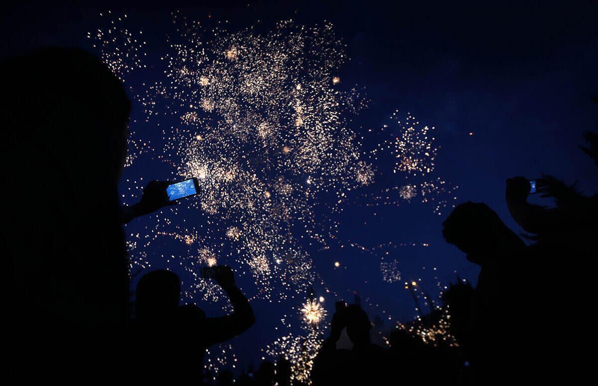 Фейерверк в городе Акра, праздник «Новруз»
