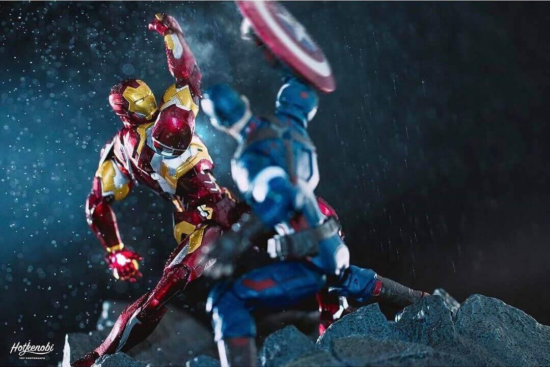 сражение капитана Америка с Железным человеком