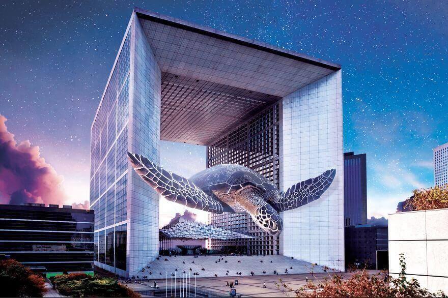 морская черепаха плывет в воздухе через квадратную арку