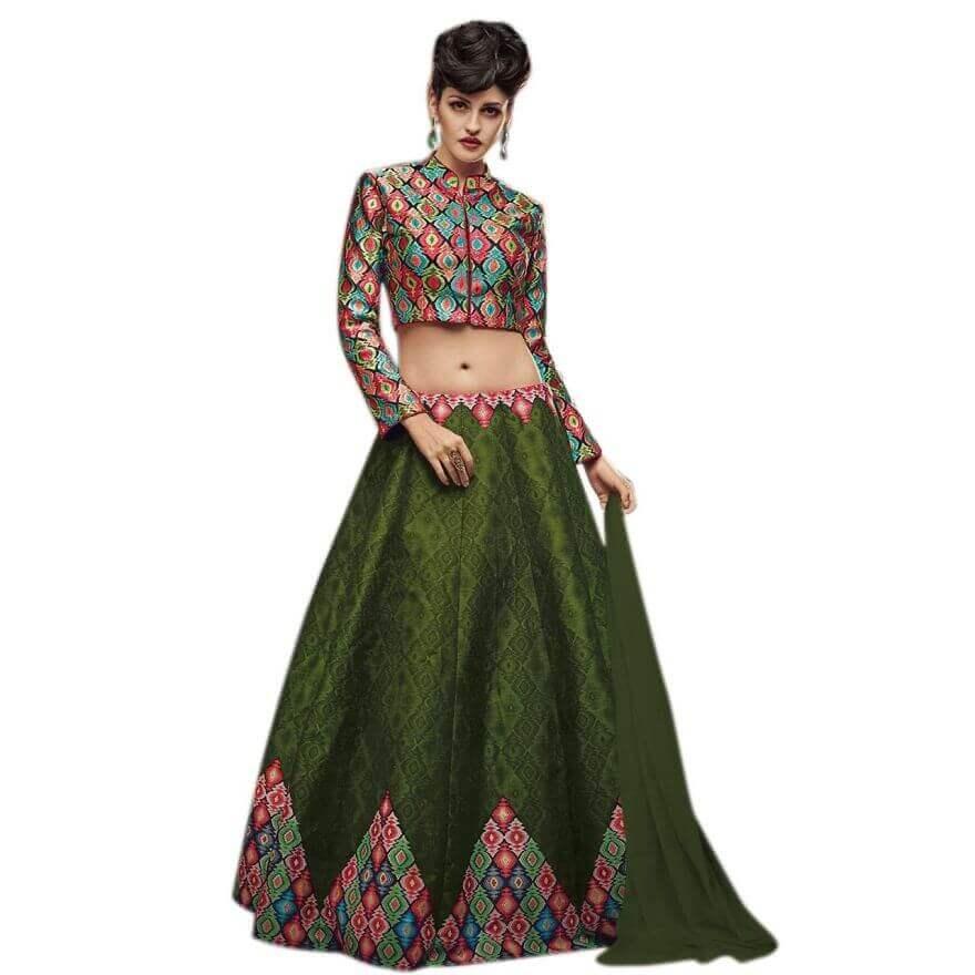 Темно-зеленый Печатный Banglori Silk Дизайнер Lehenga