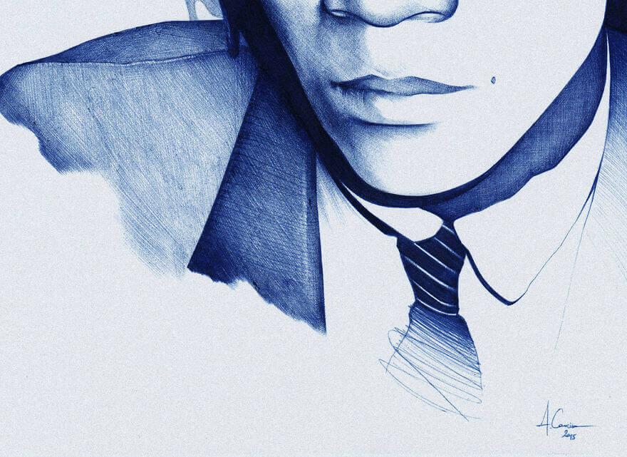 Жан-Мишель Баскийят , рисунок шариковой ручкой
