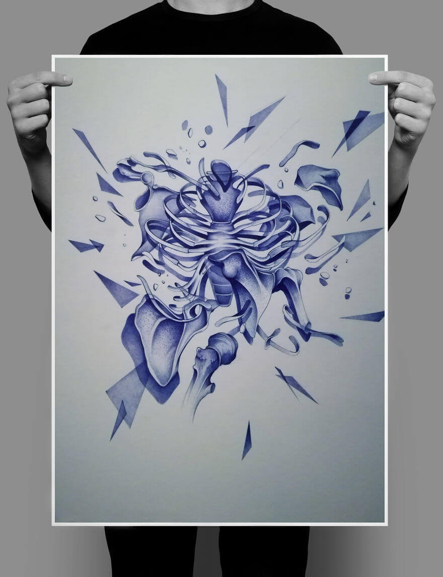 Анатомия 1 , рисунок шариковой ручкой