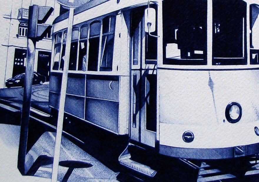Лиссабон и его трамваи, рисунок шариковой ручкой
